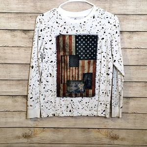 Akademiks Big Boy's Paint Splattered Flag Tee Med